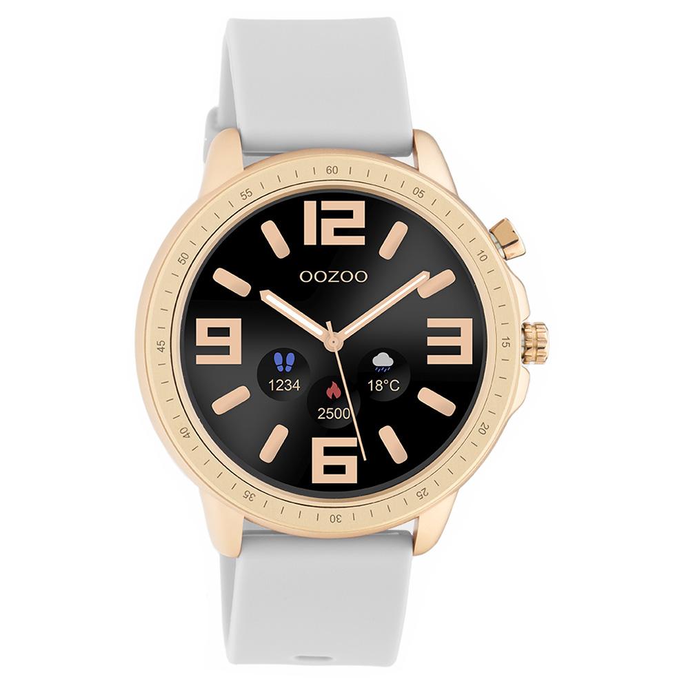 OOZOO Q00323 Smartwatch staal rubber rosekleurig steengrijs 45 mm
