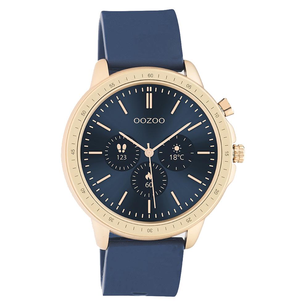 OOZOO Q00326 Smartwatch staal rubber rosekleurig donkerblauw 45 mm