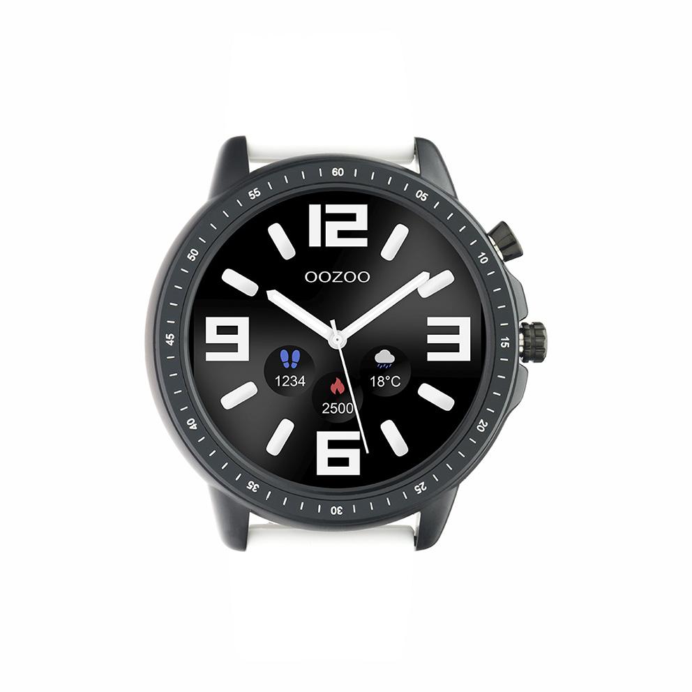 OOZOO Q00327 Smartwatch staal rubber zwart wit 45 mm