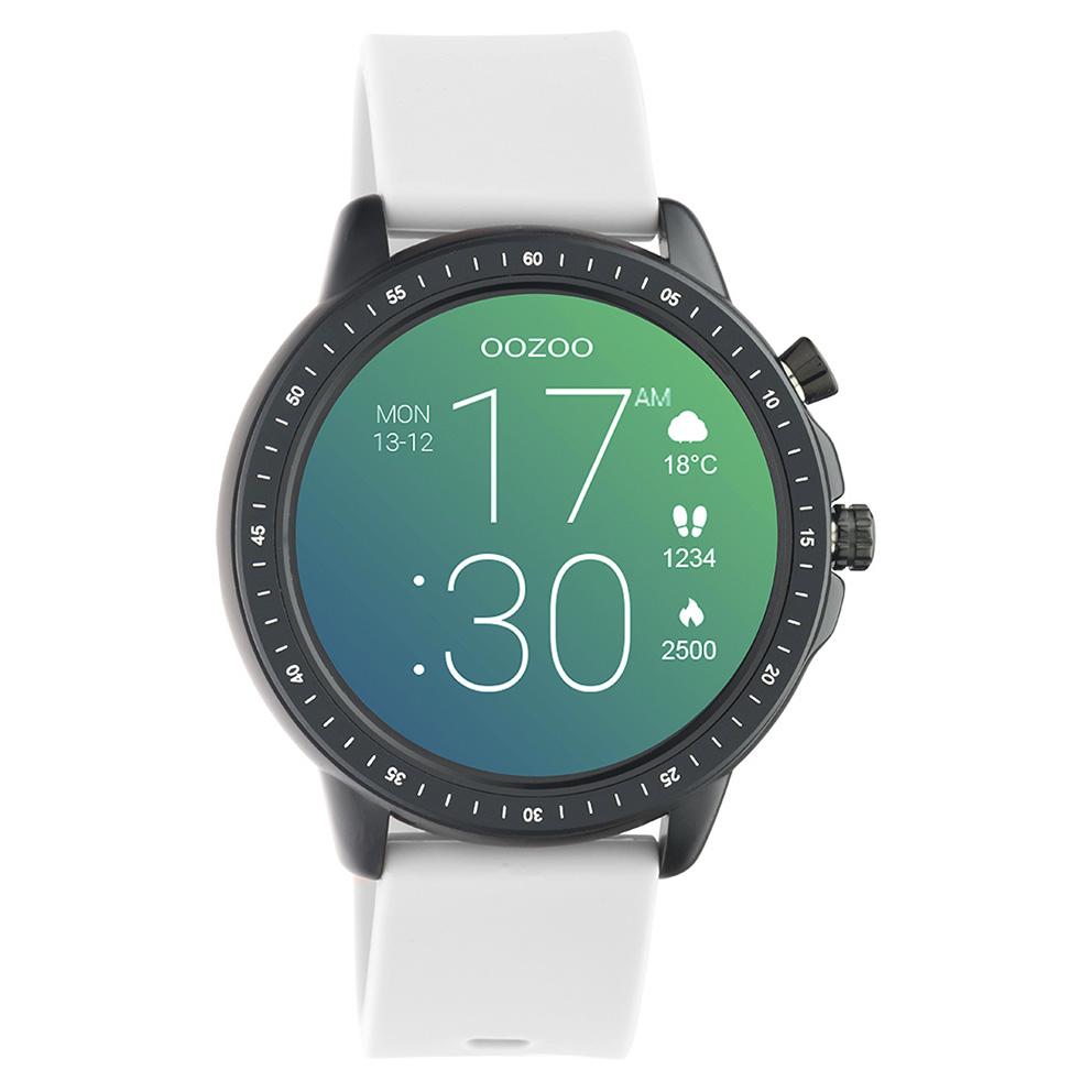 OOZOO Q00328 Smartwatch staal rubber zwart steengrijs 45 mm