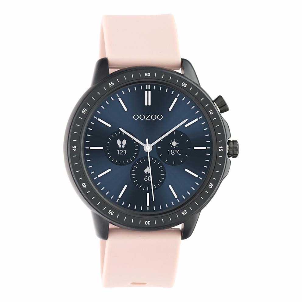 OOZOO Q00329 Smartwatch staal rubber zwart grijsroze 45 mm