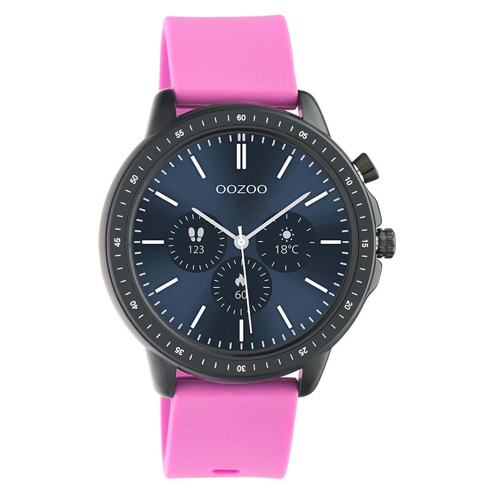 OOZOO Q00331 Smartwatch staal rubber zwart raspberry roze 45 mm