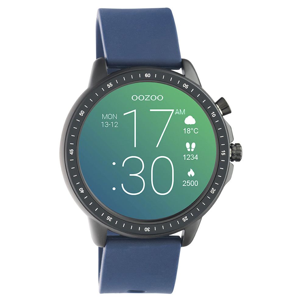 OOZOO Q00332 Smartwatch staal rubber zwart donkerblauw 45 mm