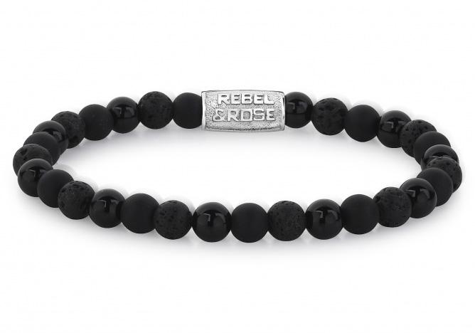 Rebel and Rose RR 60033 S Rekarmband Beads Black Rocks zwart zilverkleurig 6 mm S 16,5 cm