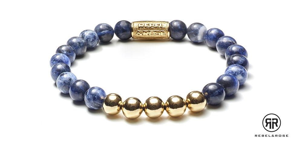 Rebel and Rose Armband 'Midnight Blue Gold' 19 cm RR-80004-G