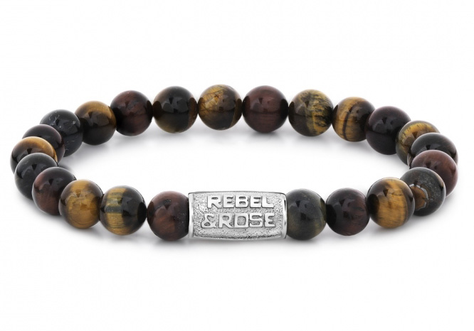 Rebel and Rose RR-80009-S Rekarmband Beads Who's afraid of the Tiger zilverkleurig-bruin 8 mm L 19 c