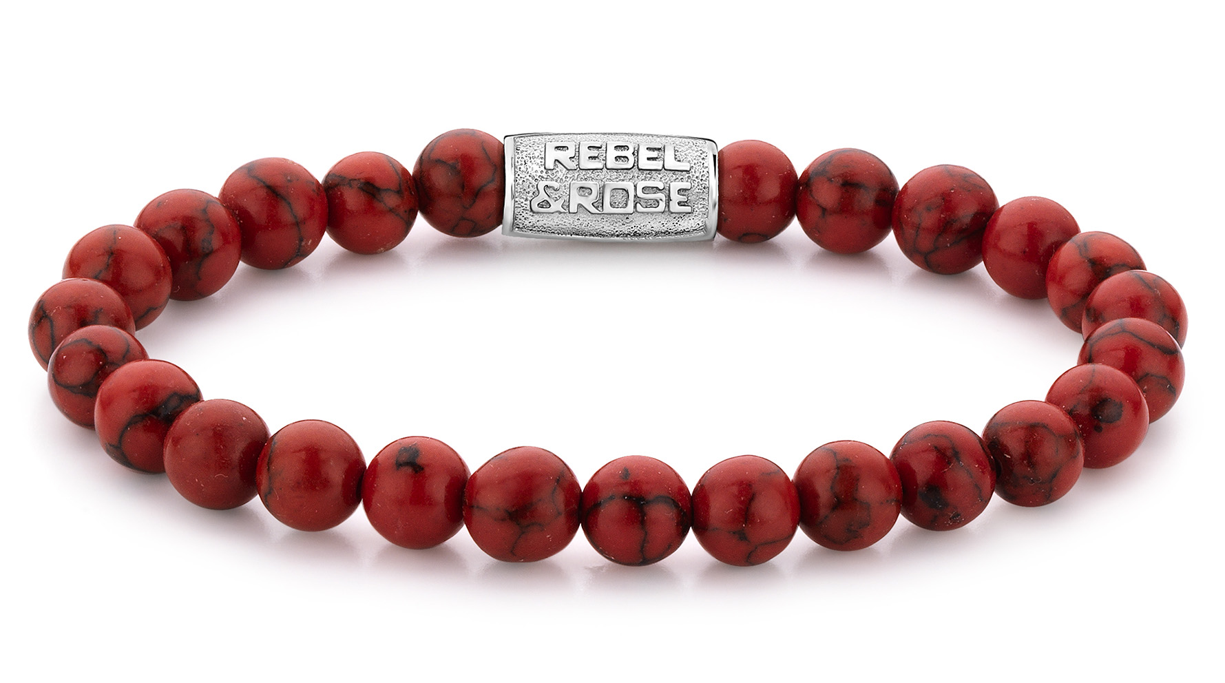 Rebel and Rose RR-80015-S Armband 'Red Delight' 8 mm 17,5 cm