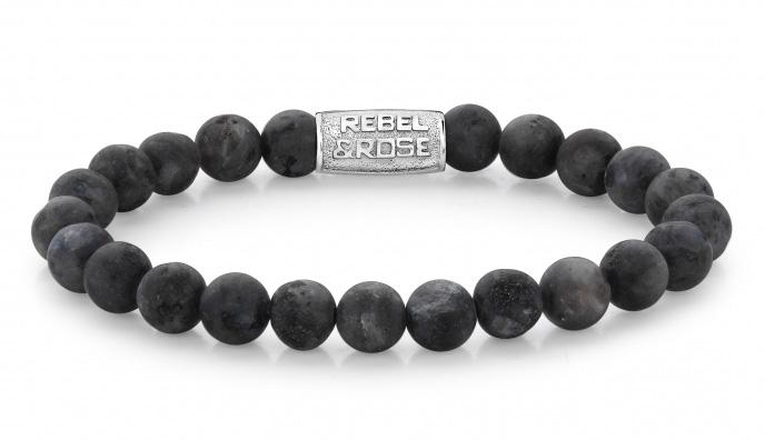 Rebel and Rose RR 80025 S Rekarmband Beads Matt Grey Seduction zilverkleurig grijs 8 mm XL 21 cm