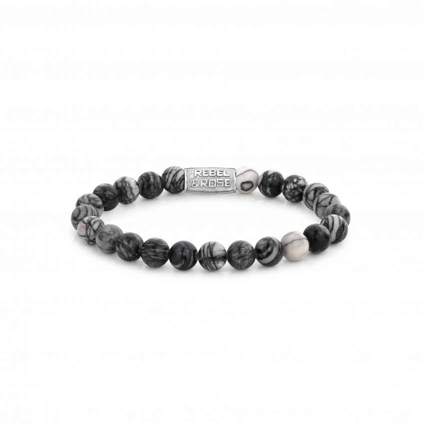 Rebel and Rose RR 80032 S Rekarmband Beads Black Wolf zilverkleurig zwart 8 mm L 19 cm