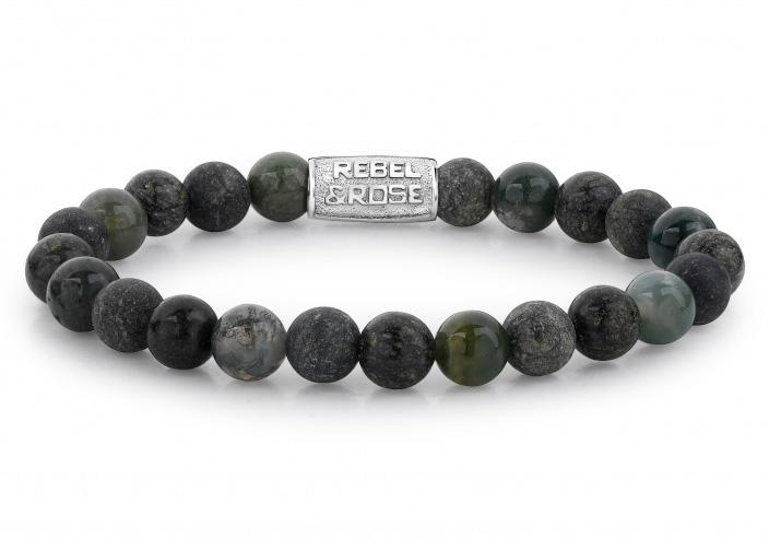 Rebel and Rose rr 80044 S Rekarmband Beads Green Rocks zilverkleurig groen 8 mm L 19 cm