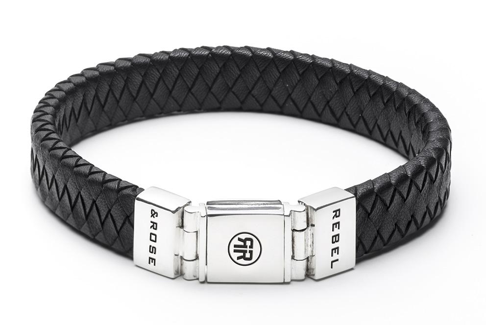 Rebel and Rose RR L0014 N Armband Braided Flat Black leder zilver zwart 12 mm XL 23 cm