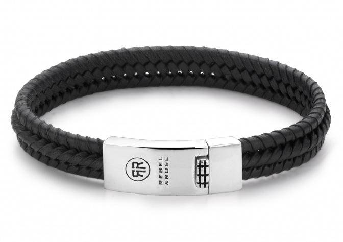 Rebel and Rose RR L0036 S Armband Twisted All Black leder zilver zwart 11 mm L 21 cm