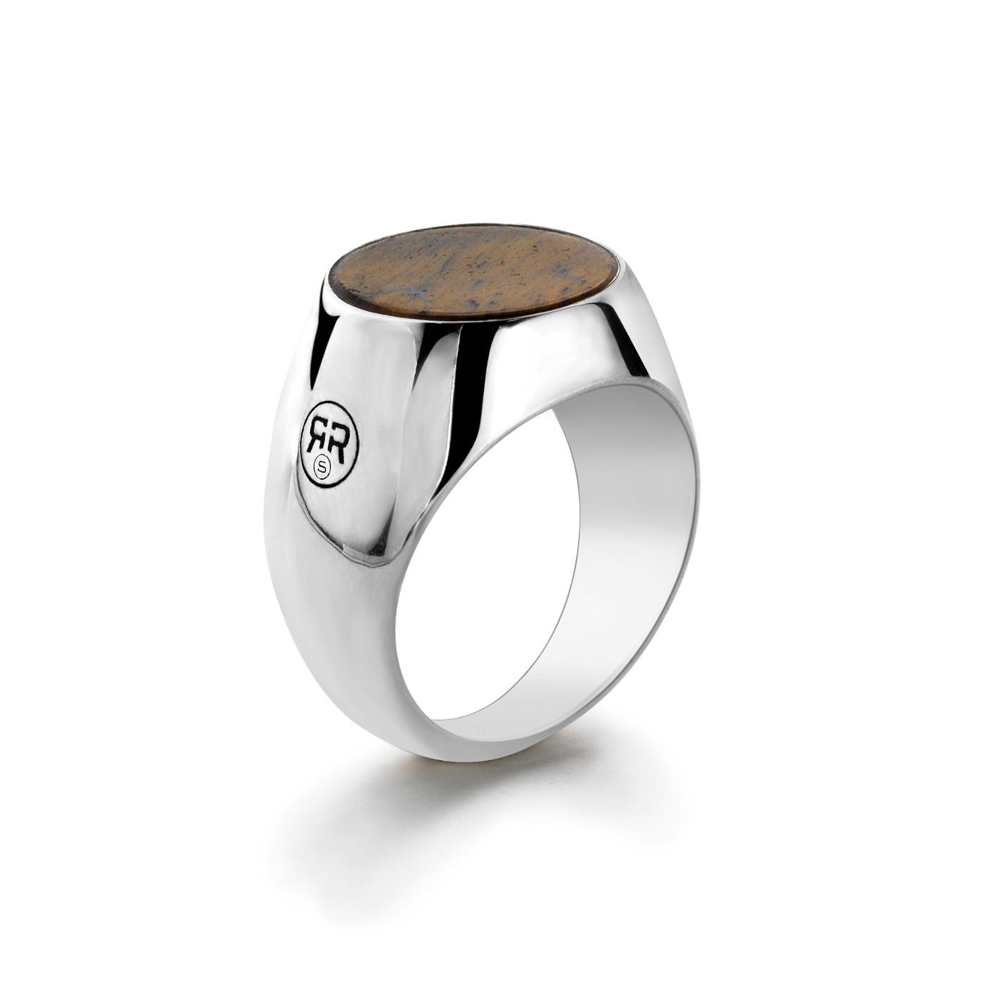 Rebel and Rose RR-RG0003-S Ring Round Lapis zilver-bruin Maat 66
