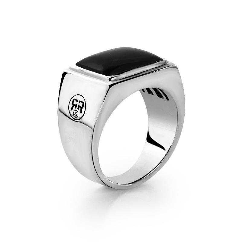Rebel and Rose RR RG004 S Ring Square Onyx zilver zwart Maat 60