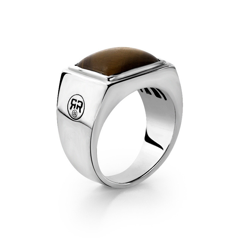 Rebel and Rose RR-RG006-S Ring Square Tijgeroog zilver-bruin Maat 63