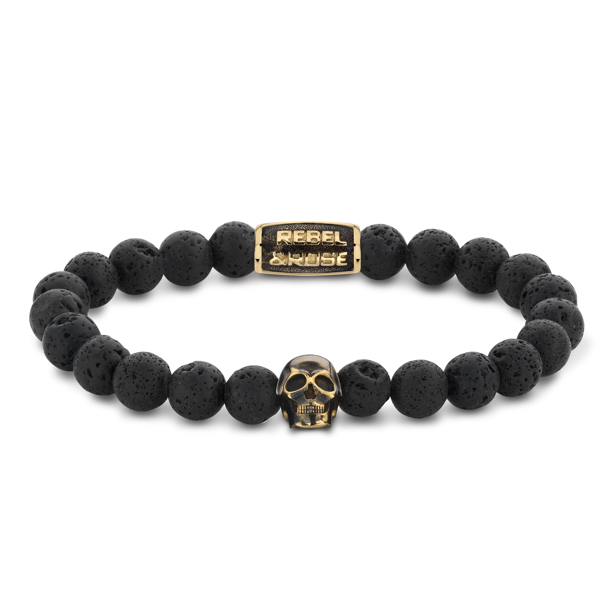 Rebel and Rose RR-SK002-G-M Armband Skull Black Moon yellow gold plated M 8mm 17.5