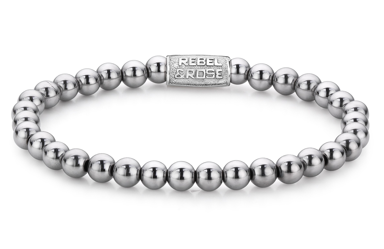Rebel and Rose RR 60020 S Rekarmband Beads Silver Shine zilverkleurig 6 mm L 19 cm