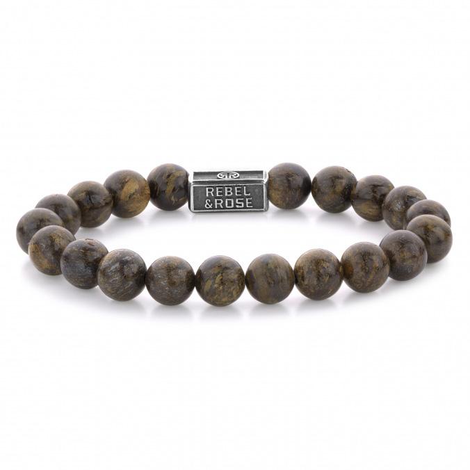 Rebel and Rose RR 8S003 S Rekarmband Beads Bronzite Brown zilver 8 mm zilverkleurig bruin M 17,5 cm