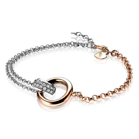 Zinzi ZIA1230 Armband zilver en rosekleurig 19 cm