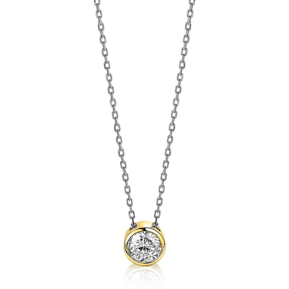 Zinzi ZIC1775G Ketting zilver en goudkleurig met zirconia 42 45 cm