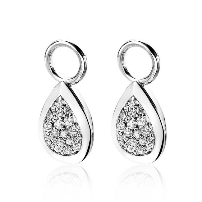 Zinzi ZICH1768 Oorringbedel druppelvorm zilver