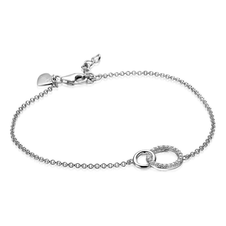 Zinzi ZIA1782 Armband zilver 2 ronde vormen 17 19 cm