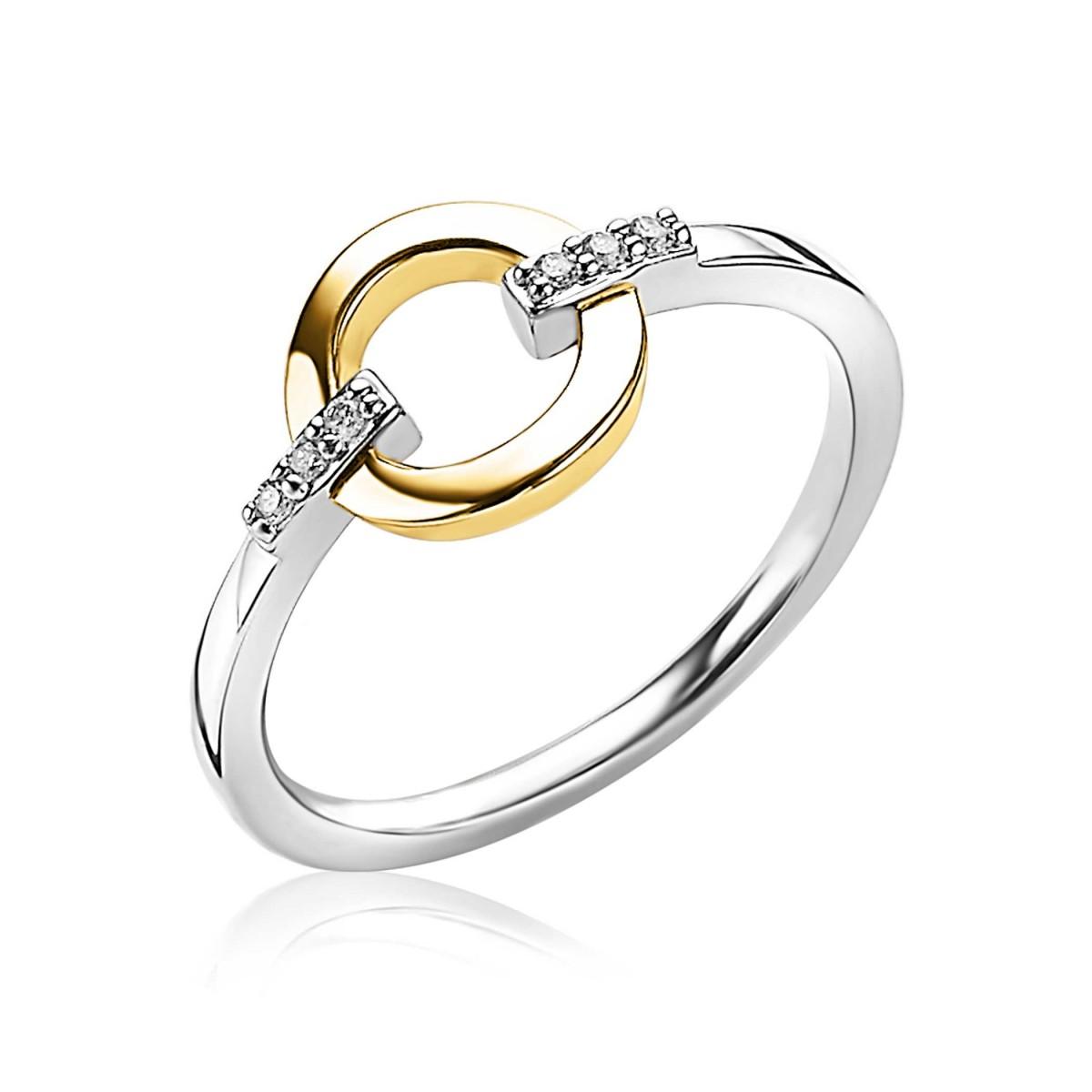 Zinzi ZIR1814G Ring zilver met zirconia zilver en goudkleurig Maat 56