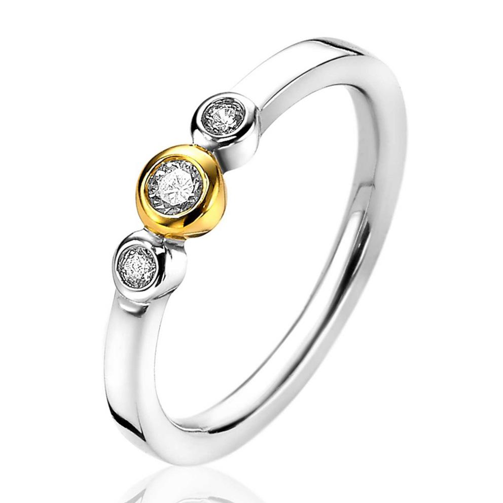 Zinzi ZIR1974 Ring zilver en goudkleurig met zirconia Maat 58