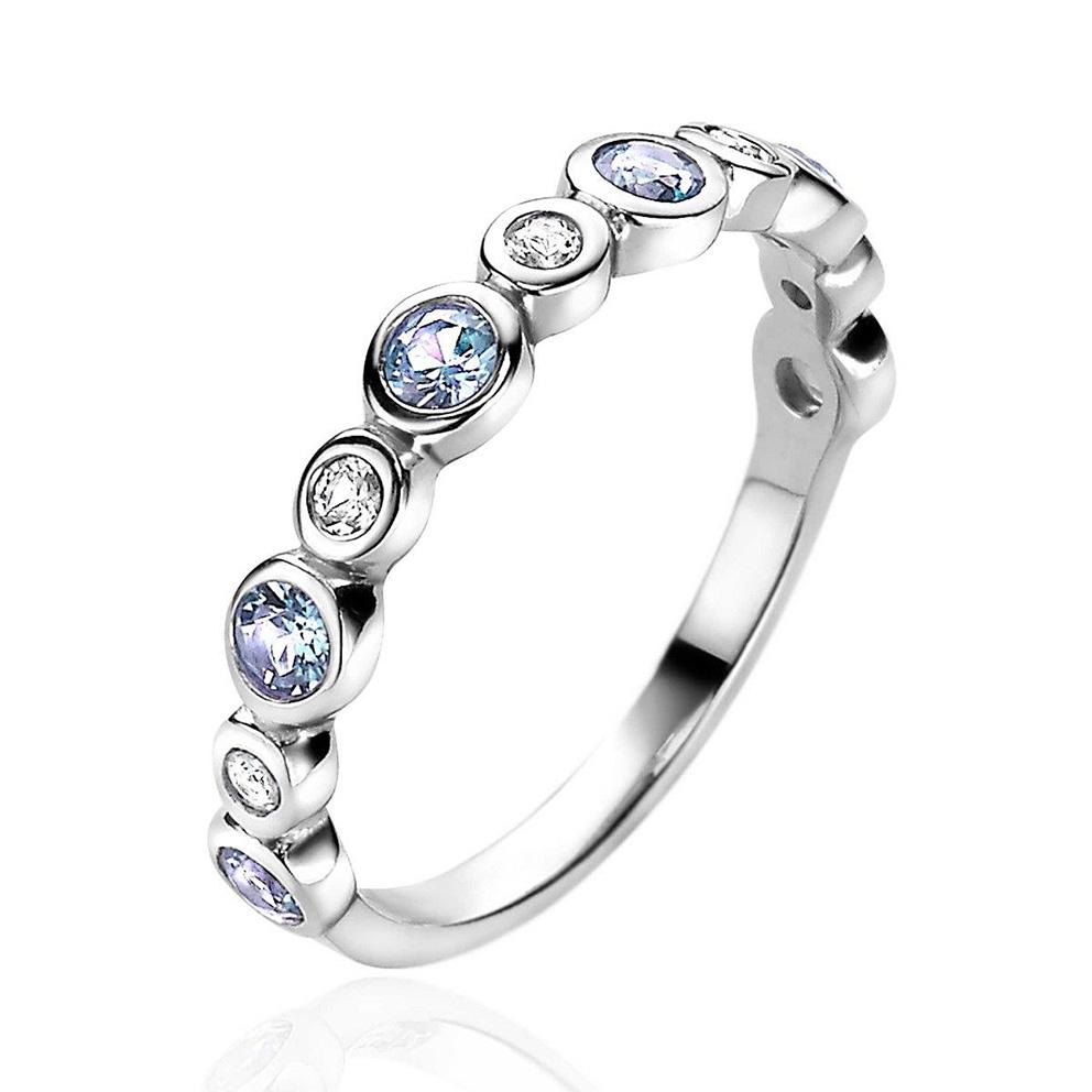 Zinzi ZIR2040 Ring zilver met zirconia blauw wit Maat 56