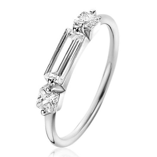 Zinzi ZIR2056 Ring Baguette zilver Maat 52