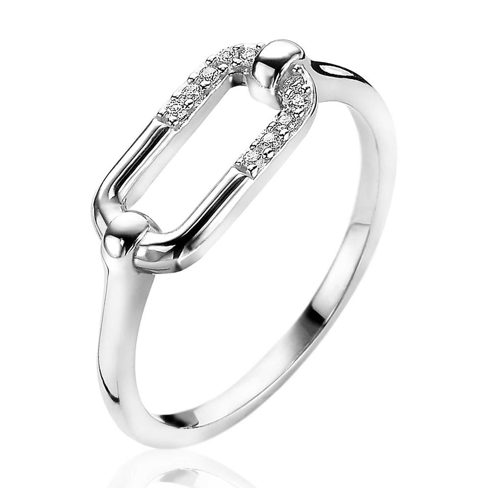 Zinzi ZIR2114 Ring Ovale Schakel zilver zirconia Maat 54