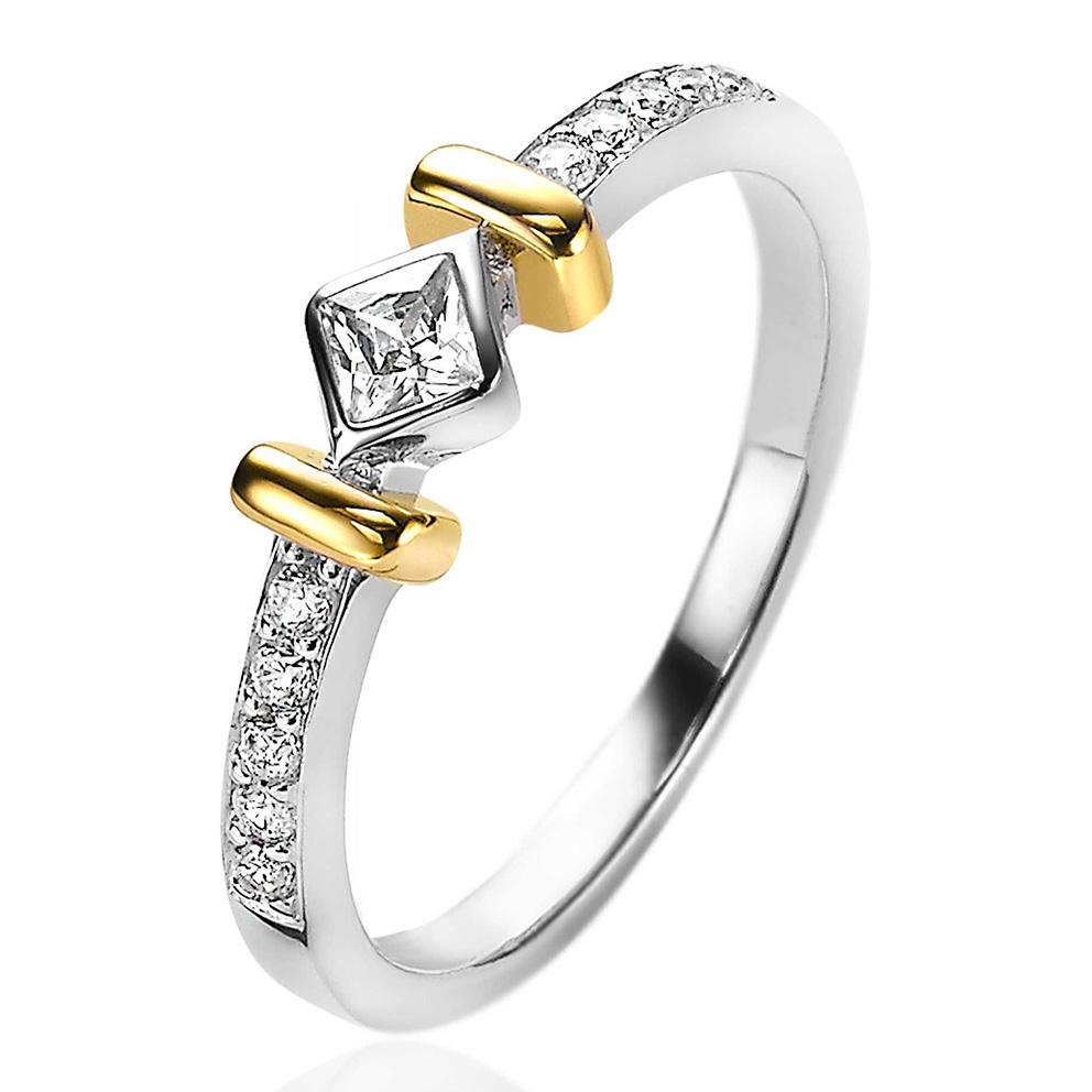 Zinzi ZIR2121 Ring Ruit zilver en goudkleurig Maat 54