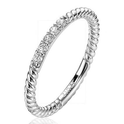 Zinzi ZIR2128 Ring Gedraaid 2 mm zilver zirconia Maat 56