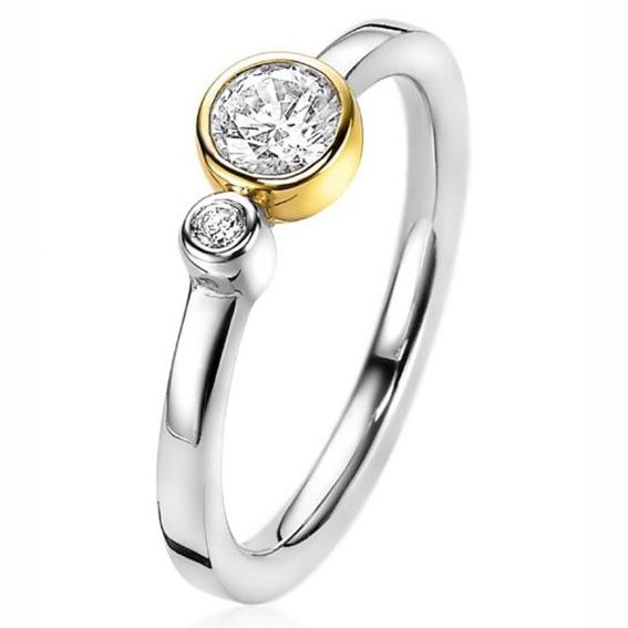 Zinzi ZIR2146 Ring Rondjes zilver en goudkleurig Maat 56