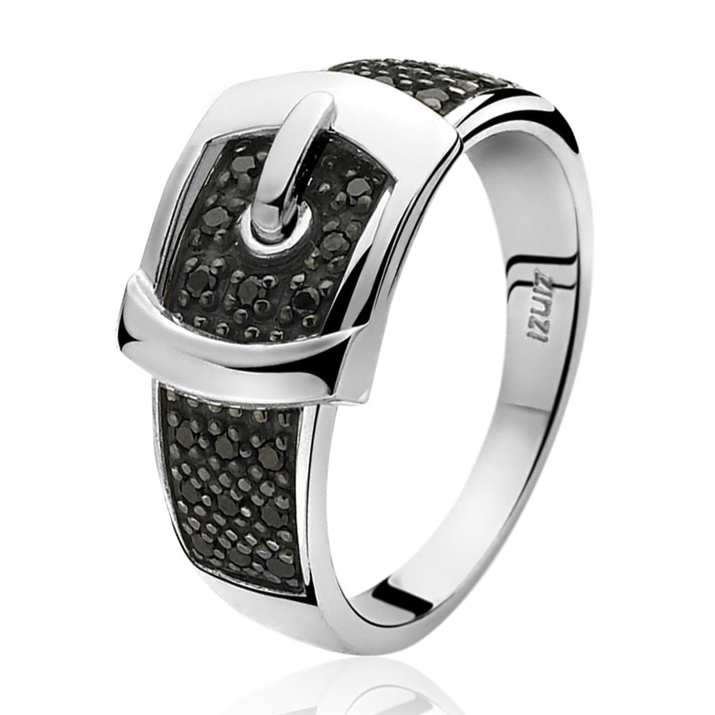 Zinzi ZIR682Z Ring Gesp zilver met zwarte zirconia Maat 62