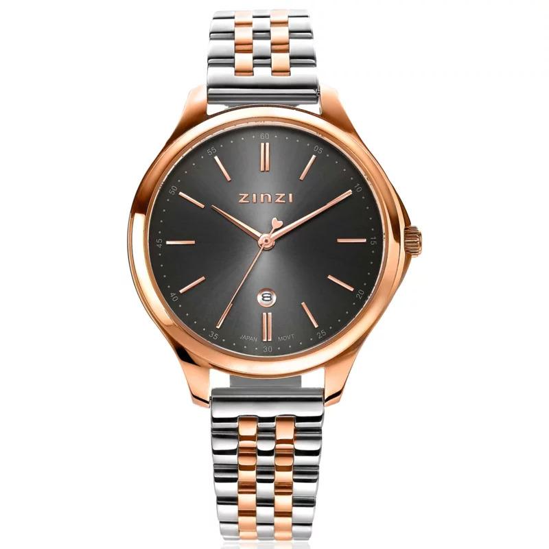 Zinzi ZIW1027 Horloge Classy gratis armband zilver en rosekleur grijs 34 mm
