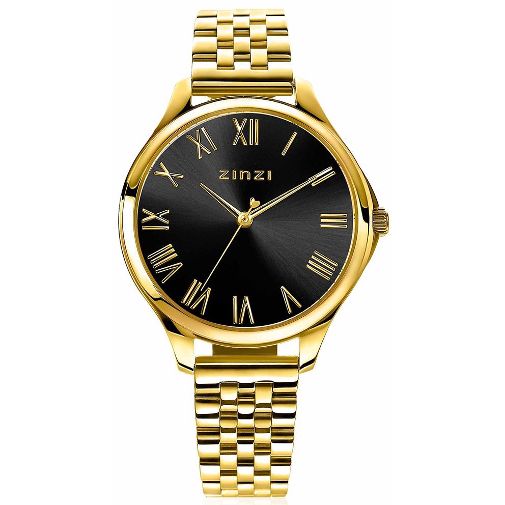 Zinzi ZIW1143 Horloge Julia goudkleurig zwart gratis armband 34 mm